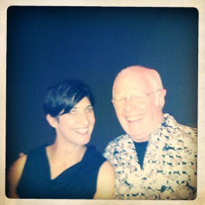 Traver Gallery owner Sarah Traver with collector Jim Baker