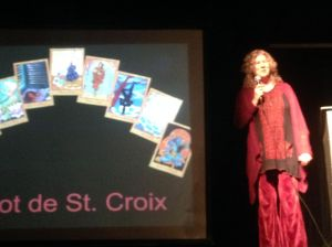 Lisa de St.Croix presenting her forthcoming Tarot deck.
