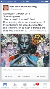 Lorna Bevan's Hare in the Moon astrology on Facebook