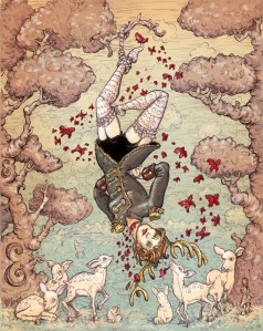 Amanda Palmer Tarot deck-The Hanged woman by Molly Crab Apple