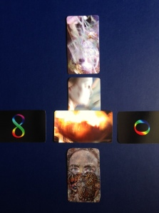 It's birthday spread with cards that will be the new edition Tarot size. left and right cards: 66. Infinity & ). Luminescence. Center Painted Body cards bottom to top:3. Instinct; 36. Trust; 4. Naivety; 37. Subtlety