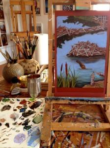 work in progress in her studio