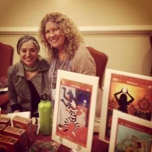 Lisa and fellow friend and Tarot Goddess Carrie paris at Readers Studio last weekend in NYC where Lisa sold 46 decks!!