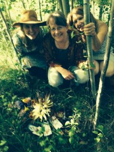 The gratitude altar in the sacred aspen grove with L-R me, Suzy, Laurie